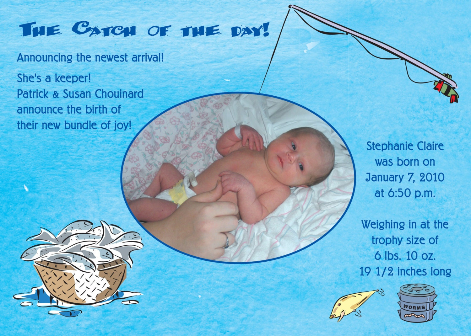 the catch of the day birth announcement