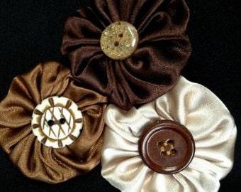 Satin Flower Cluster Hair Clip, Handmade Satin Yoyo Flower Cluster