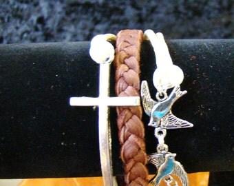 Cross and Bird Braided Leather Bracelet