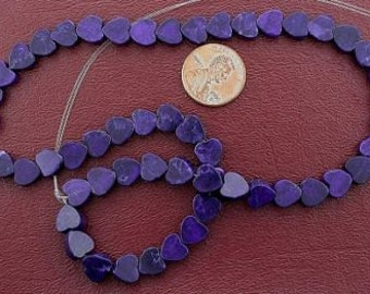 8mm flat heart gemstone howlite purple beads