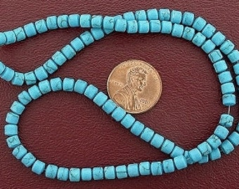 4mm drum gemstone synthetic turquoise beads 15 inch strand