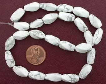 15x7 twist gemstone white howlite beads