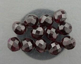 12  garnet czech fire crystal beads 8mm