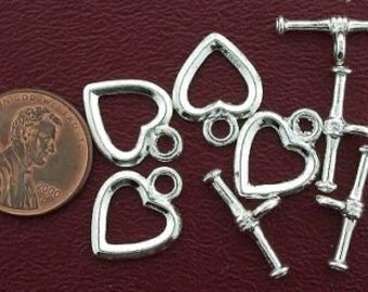 four 13mm sterling plated heart toggle clasps