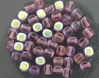 36 medium amethyst  ab czech glass cube beads 4mm