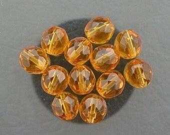 12  medium topaz czech fire crystal beads 8mm