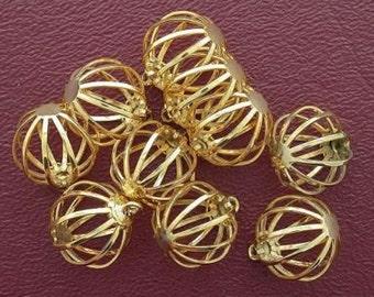 ten 15mm round goldplated wire cages