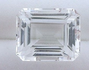 11x9 emerald cut white topaz gem stone gemstone