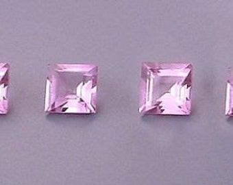 four  5mm square amethyst gem stone gemstone
