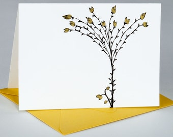 Note Card Set, All Occasion, Original Illustration, Delicate Tree with Yellow Pods, Set of 8 Folded Notes / Envelopes, TWIGGY