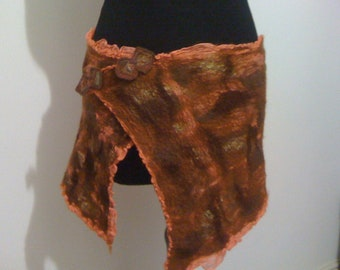 OOAK Nuno felted skirt/wrap in Autumn shades.