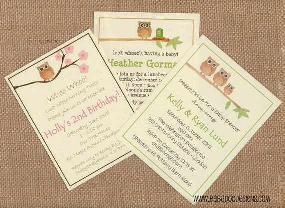 OWL Invitation (multiple styles) - Full Service Printing and Coordinating Items Available