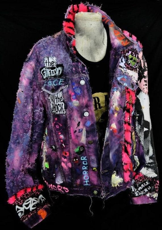 Items similar to Purple denim customized punk rock jacket ...
