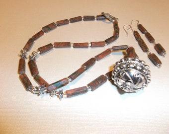Unakite Necklace Set