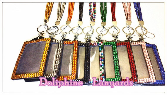 Multi-Colors Rhinestone Crystal Bling Neck LANYARDs Key Chain Key Holder & ID Badge Holder
