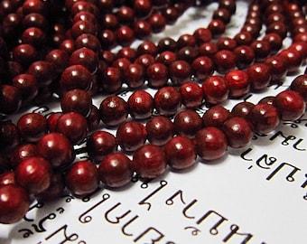 100pc 6mm   Siam Rosewood   Tibetan prayer loose wood round beads