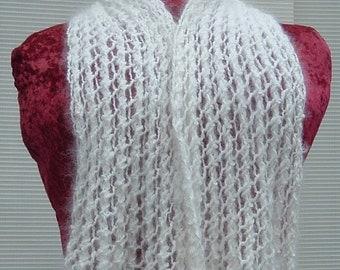 "Hand Spun Hand Knit White 100% Angora Collar Scarf 39"" long, 7.5"" wide"