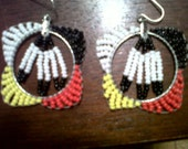 Beaded 3 Feather Earrings with Four Sacred Colors