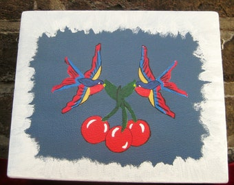 Hand Painted Swallows Carrying Cherries on Retro Cosmetic Case
