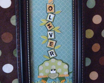 Green turtle with helpful bird Baby or Child Personalized Name Frame
