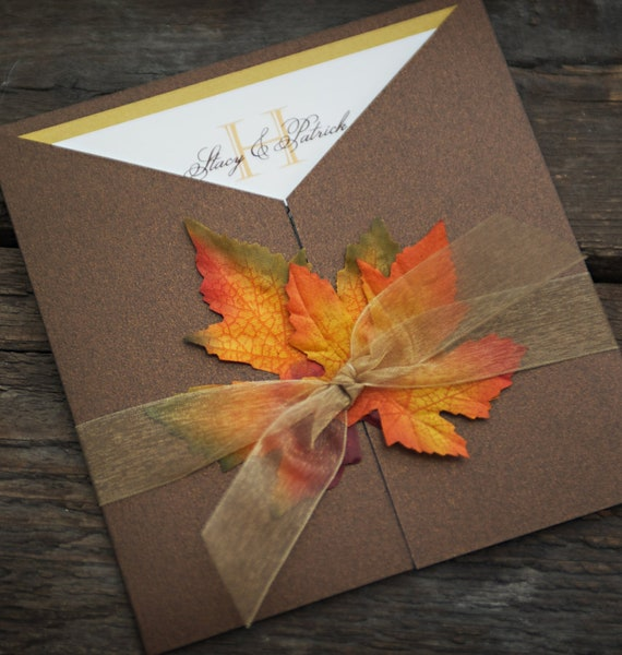 Sample Fall Wedding Invitation Autumn Glory Fall Leaves