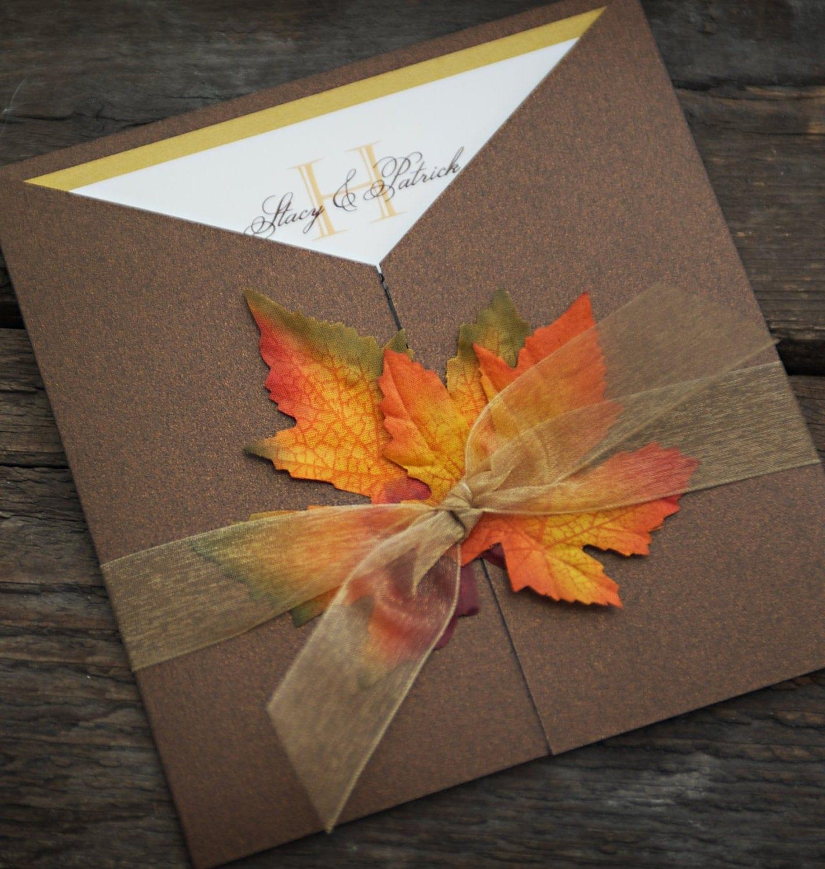 Sample Fall Wedding Invitation Autumn Glory Fall Leaves