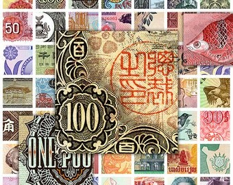 """Banknotes Square 1"""" Digital Collage Sheet for Scrapbooking Altered Art Victorian Style / SQ1"""