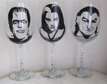 Hand Painted Wine Glass - Set of 3 - THE MUNSTERS TV Show