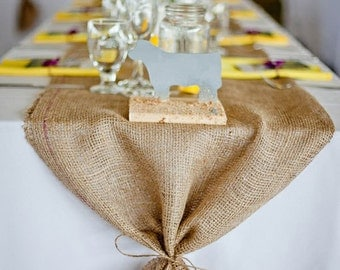 "Burlap Table Runner 16"" & 18"" width with ties - Wedding runner Holiday decorating Home decor"