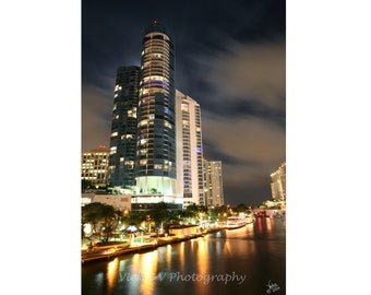 New River Downtown city of Fort Lauderdale Las Olas River house condo night photo 8x12 fine art photography print