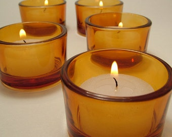 Amber Tealight Candle Holders