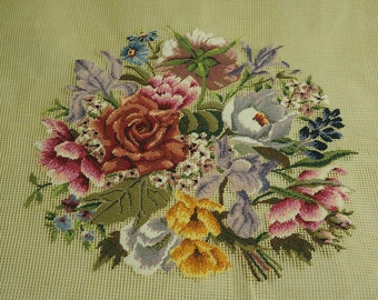 """30"""" Square Preworked Needlepoint Canvas Floral Design Finished Large Size Petit Point"""