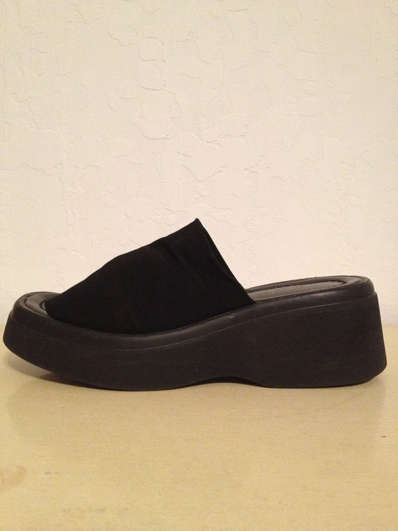 90s black chunky platform wedge slip on sandals shoes us 7