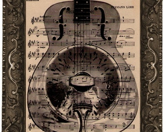 Dobro Resonator Guitar Vintage Dictionary Art: recycled antique sheet music upcycled book page print art vintage music guitar Dobro