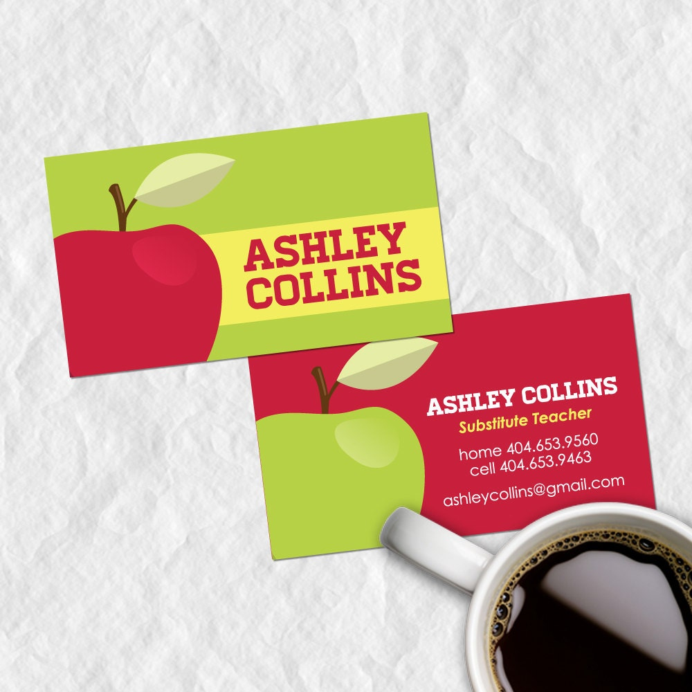Premade Substitute Teacher Business Card by ShopStudioAdmirer