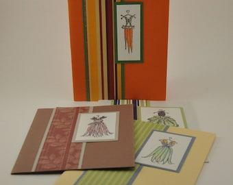 4 blank notecards-Funky fruit/vegetable dress designs