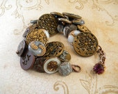 Vintage button bracelet twinkle, metal and glass buttons gray, bronze, gold, white, brown, amethyst purple