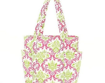 Diaper Bag   Green and Hot Pink Damask   4 Exterior Pockets   Changing Pad   Zipper Close