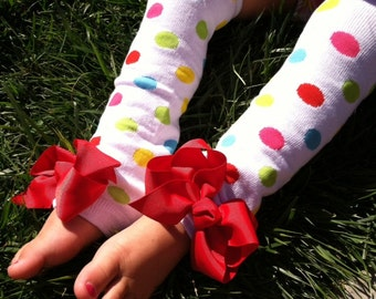 Polka Dot Leg Warmers- Candy dots - Baby Leg Warmers - Baby girl - Rainbow - Pageant - Baby Shower - Fits girls 0-8