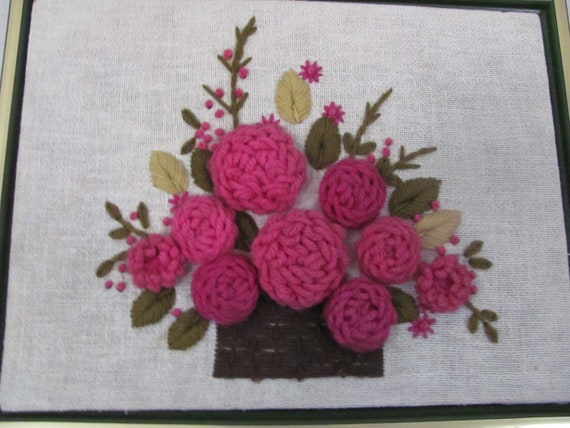 Vintage Home Decor Wall Hanging 1960s Framed Needlework Crewel Flowers - Hot Pink