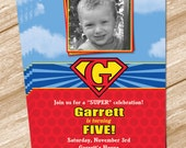 Superman Superhero Birthday Invitation - Printable Digital Design