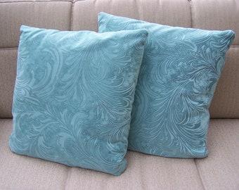 Funky Teal Throw Pillows, set of 2.