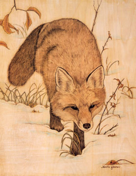 Red Fox - Silent Stalker - Limited Edition Original Archival Print, Fine Art Print, Animal Print, Red Fox Artwork, Nature Woodburning