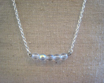 iridescent glass bead necklace