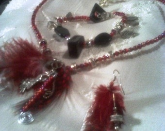 Red Feather & Crystal Necklace, Bracelet and Earrings Jewelry Set