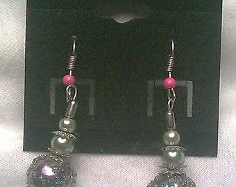Frosted Grape Dangle Earrings
