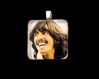 George Harrison, glass tile pendant, 1 inch square