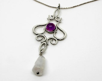 Victorian Style Pendant with Two Different Gem Stones.