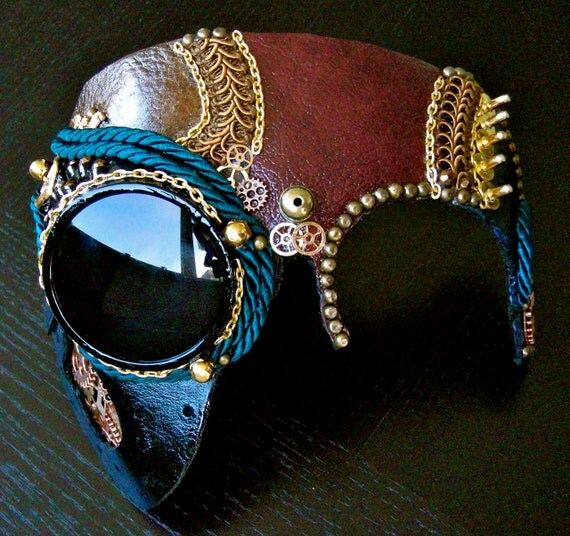 Leather Mask Steampunk with Gears and Goggle - The Caustic Chemist