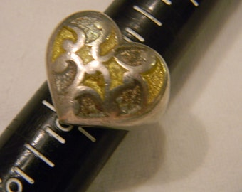 Very Beautiful Unique Fashion Forward 925 Sterling Silver Large Heay Inlaid Heart Ring Size 7 #1390